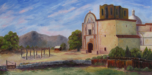 Tumacacori Mission by Lil Leclerc - 12 x 24 - oil 925