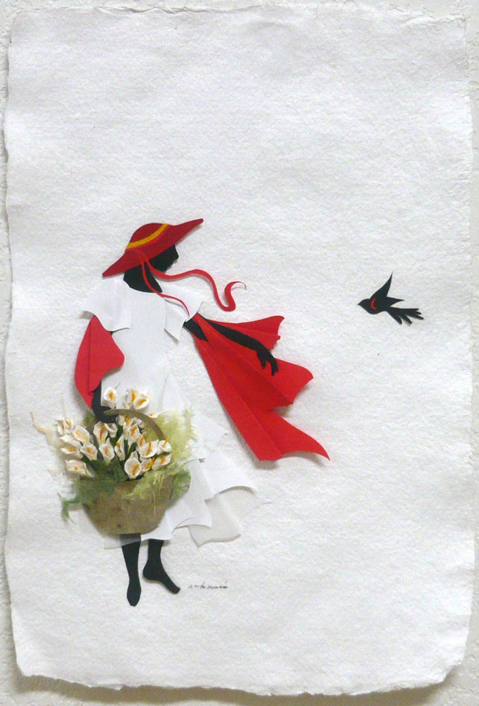 """Esperanza"" by Annie Santa Maria - cut and folded paper - 10"" x 14"""