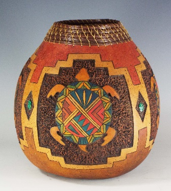Four Turtles, Judy Richie Gourd Art, Rogoway Gallery