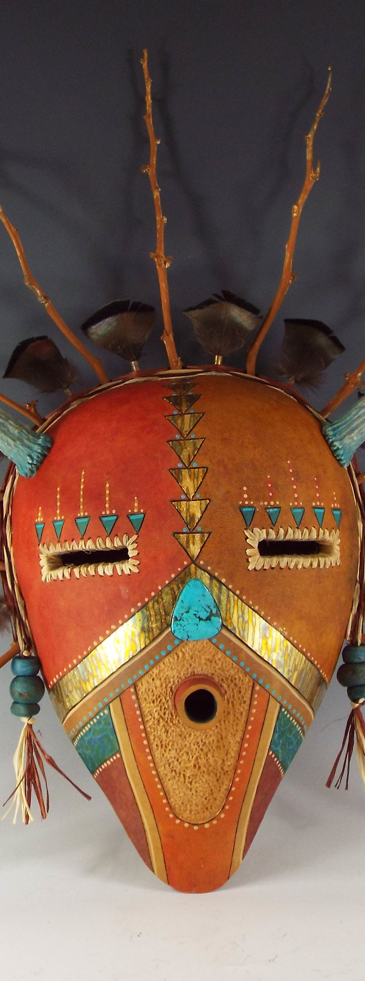 Turquoise Antlers, Judy Richie Gourd Art, Rogoway Gallery