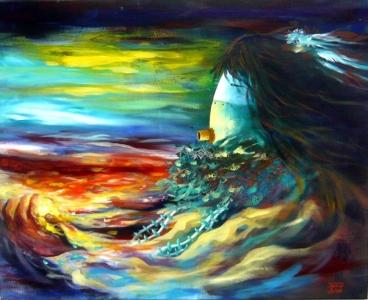 Sun Carrier, 24x30, David K John, Painting, Rogoway