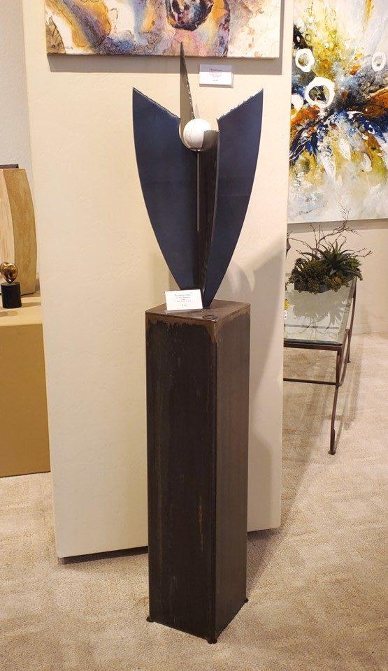 Eroding Vase, John Benedict, Steel Sculpture, Rogoway Gallery
