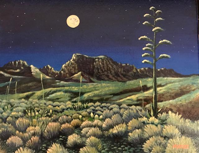 Moonlight over the Chisos Mountain Range, Bert Mayse, Turquoise Tortoise Gallery