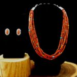 5 Strand Coral Necklace & Earring, Artie Yellowhorse, Navajo Jewelry, Rogoway