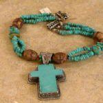 T1507 Turquoise Cross Tibetan Bead Neck, Tricia Anderson