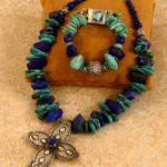 T1524 Lapis Turquoise Cross Neck, Tricia Anderson